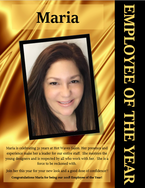 Hot Waves Salon employee of the year Maria